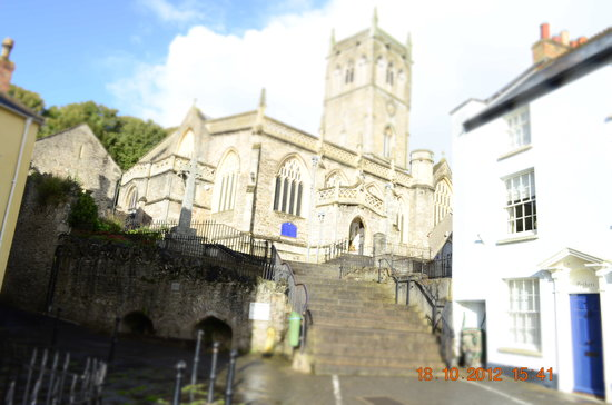 The Lamb: Ancient Church in Axbridge Square giving the beautiful sound of bell ringers