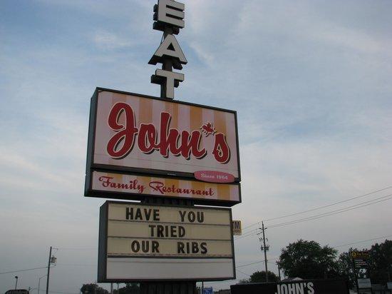 John's Restaurant Roadside Sign.