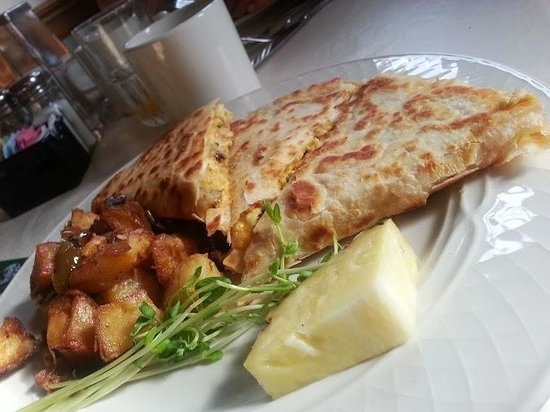 Georgetown, MD: Are breakfast today is Crab, egg, sausage, cheese quesadilla. Yumm