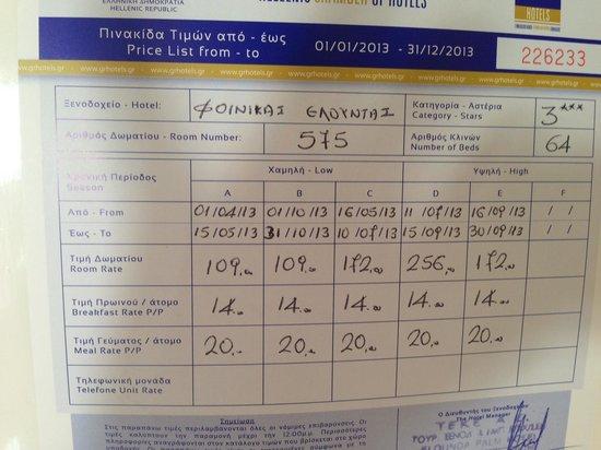 Elounda Palm Hotel : Les prix