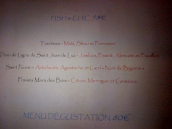 Jean des Sables : Le menu