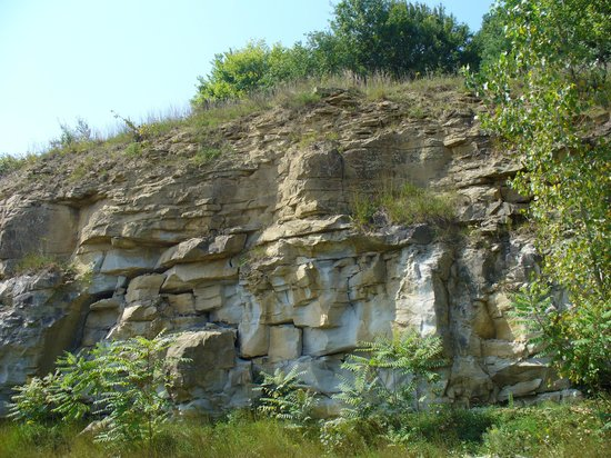 Baymont by Wyndham Cambridge : Sandstone cliff behind motel