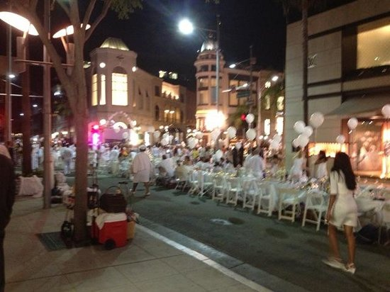 Party in the streets of Beverly Hills outside of Mr. Chow.