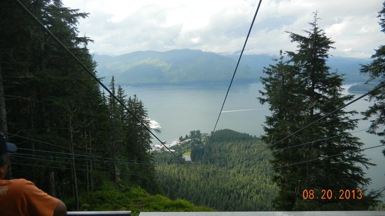 Icy Strait Point ZipRider : Looking down from take-off point.