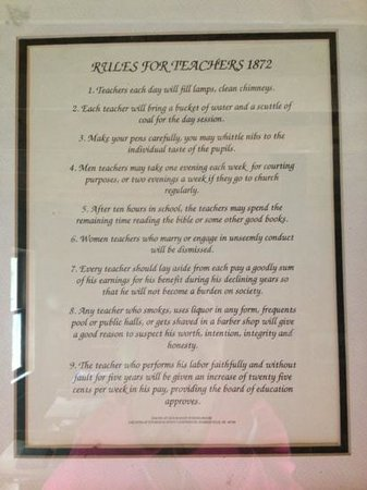 Bailey School: 1872 Teachers Rules