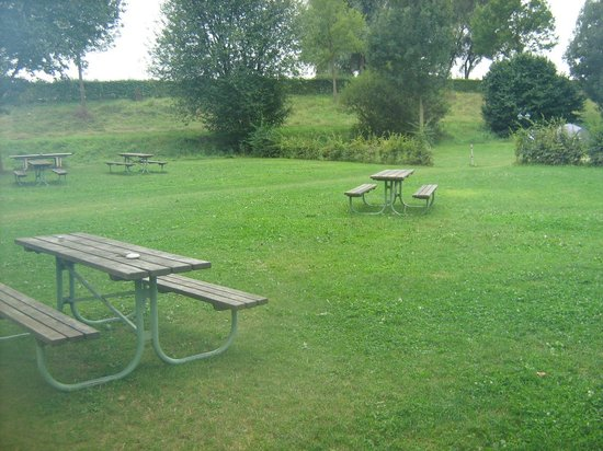 Camping & Pension Au an der Donau: plenty of tables