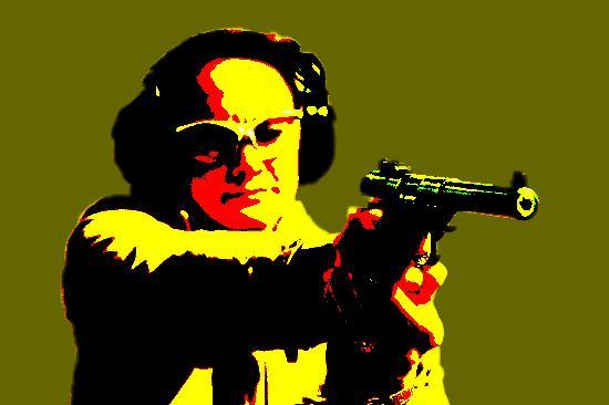 Jackson Hole Shooting Experience: Lady shooting pistol