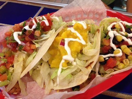Nini's Taqueria: variety tacos with a variety of salsas
