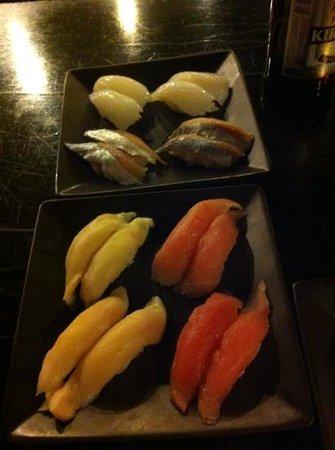 Oyshi Sushi: Ika, Spanish mackerel, Super white tuna & Maguro nigiri sushi