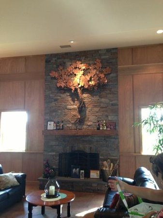 one of the first wine vines over the fire place at cape may winery