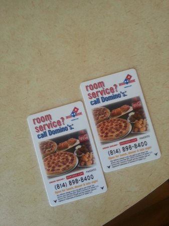 The Avalon Hotel and Conference Center: Domino's key cards. Classy.