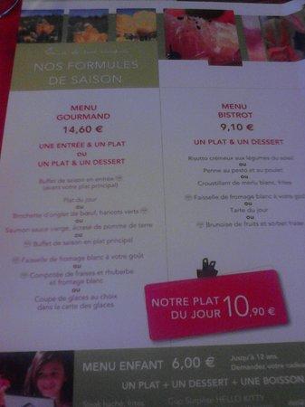 Ibis La Bresse Gerardmer: Carta del restaurante