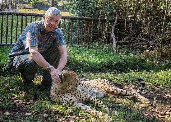 Inkwenkwezi Private Game Reserve Safari Lodge : Stroking a Leopard