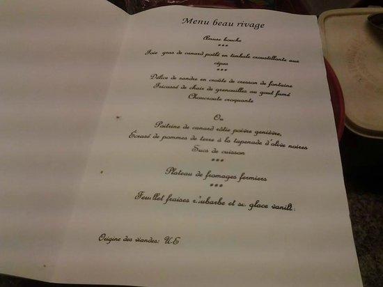 "Hotel Beau Rivage : Le menu ""Smartbox"""