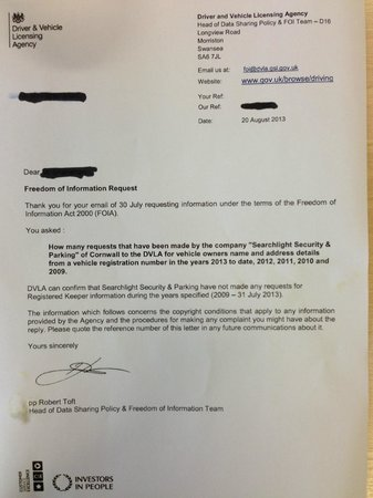 Lamorna, UK: Photo of DVLA letter confirming no requests for info