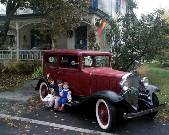 "Rose Arbour Bed and Breakfast: Our 1932 Confederate, Chevy ""Rosie"" in front of the main entrance."