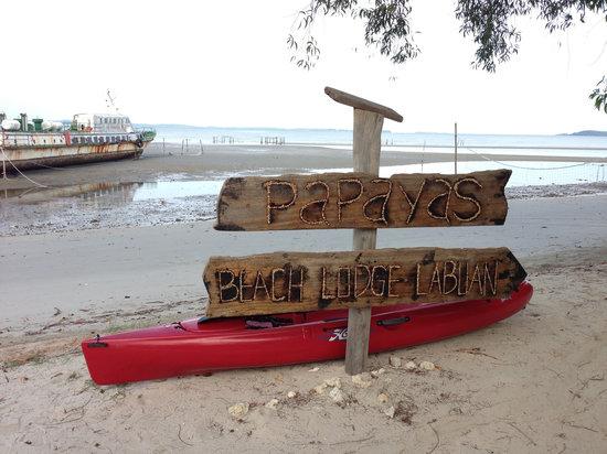 Summer Beach Lodge: ビーチと看板 潮が引いた時間帯