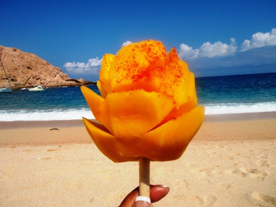 Santa Maria Beach: Mango on a stick with chili pepper - good stuff!