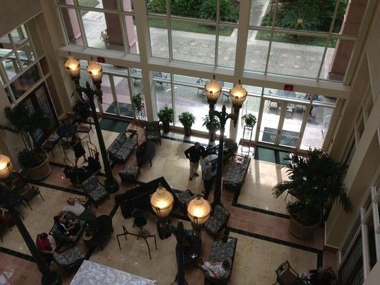 Jesse H. Jones Rotary House International: Overlook from restaurant and bar to lobby