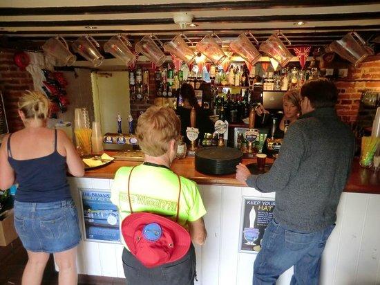 Sharon ordering at the Angel on the Bridge pub.