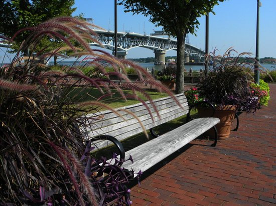 Riverwalk Landing: Beautifully landscaped walkways with benches, provide a nice place to rest.