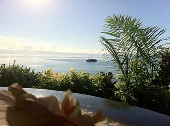 Taveuni Island Resort & Spa: View from the lounge area of an Ocean View bure