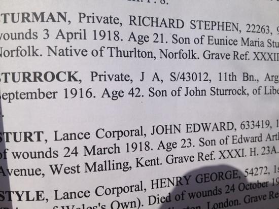 Etaples Military Cemetery : The register for J Sturrock