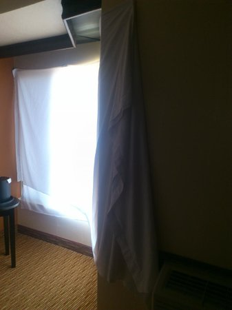 The Park Inn by Radisson Salt Lake City – Midvale: A sheet instead of a curtain