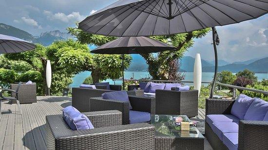 terrasse lounge bar photo de hotel beauregard sevrier tripadvisor. Black Bedroom Furniture Sets. Home Design Ideas