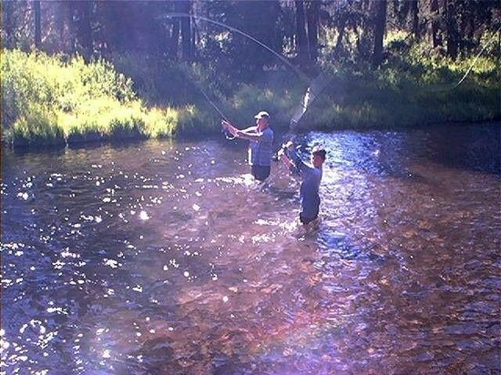 Crescent Creek Cottages & RV Park: Fishing in the Creek