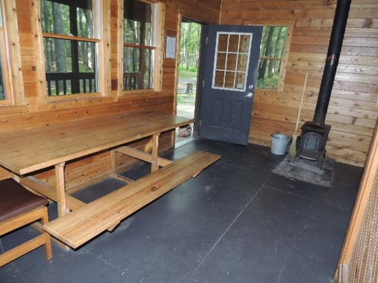 Allaire State Park: interior table & wood stove for heat.