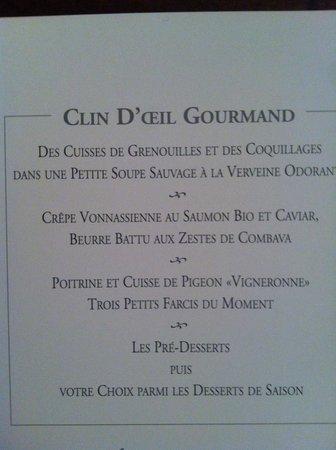 Restaurant G Blanc Vonnas Carte