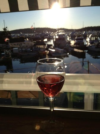 Roche Harbor Resort: view from the Dining room over cocktails