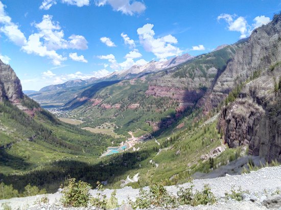 View of Telluride from Black Bear Pass switchbacks