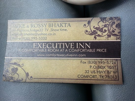Executive Inn: Business Card