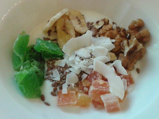 NH Firenze Anglo American: Breakfast: Yogurt with dried bananas, coconut, kiwis and papaya!