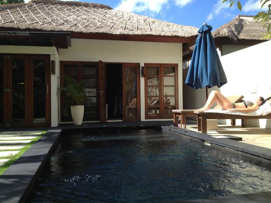 Balibaliku Beach Front Luxury Private Pool Villa: looking from private pagoda garden