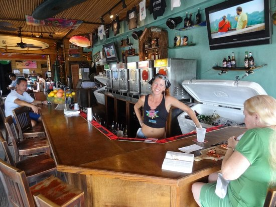 Big Kahuna Rum Shack: Don't know her name but friendly and very funny!!