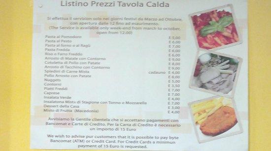 Listino Prezzi Del Bar Tavola Calda Picture Of Giardino