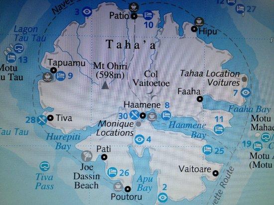 Patio, Γαλλική Πολυνησία: Piantina per raggiungere la spiaggia