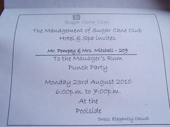 Sugar Cane Club Hotel & Spa: our invite