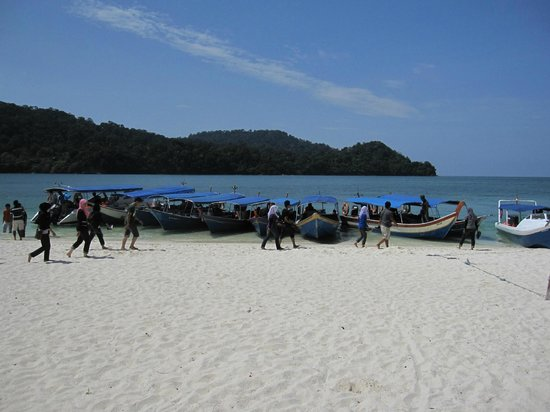 Beras Basah Island: Fisherman's Boat used to ferry passengers will dock in one side of the island