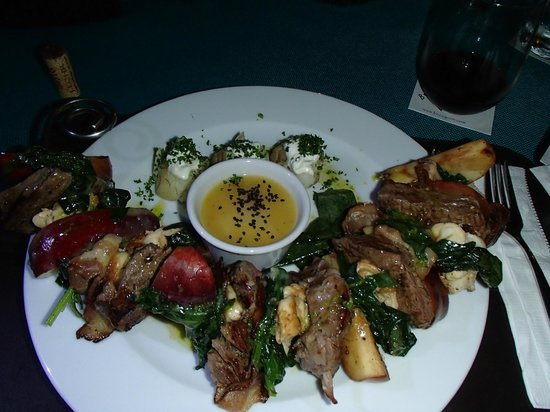 Buccanos at Night: Surf and Turf Kabob (lobster and steak)
