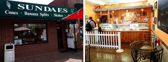 Outside and Inside the Sundaes Ice Cream Shoppe in Bryson City, NC