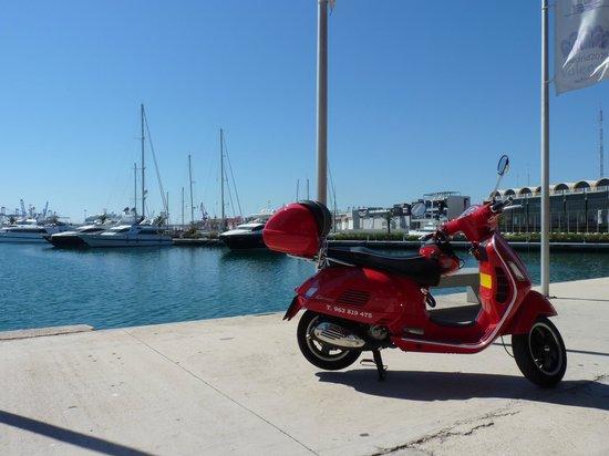 Vespa-Rent: En el puerto de Valencia