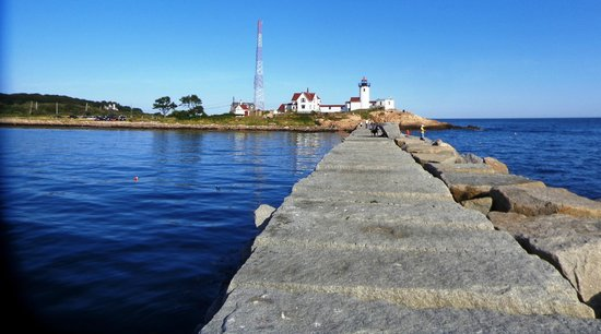 Eastern Point Lighthouse: view from end of the walk of the lighthouse