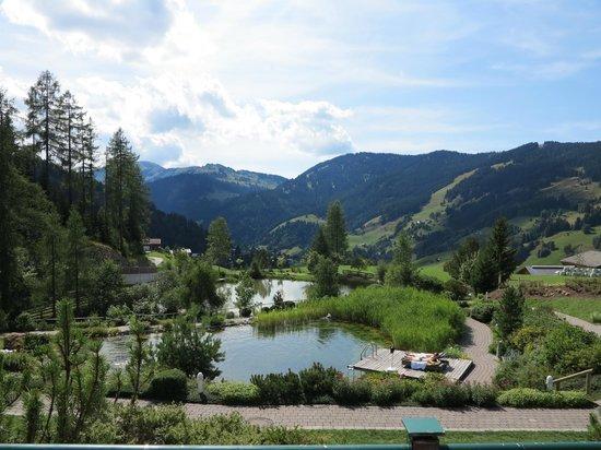 Übergossene Alm Resort : Der Ausblick vom Gartenzimmer am Nachmittag