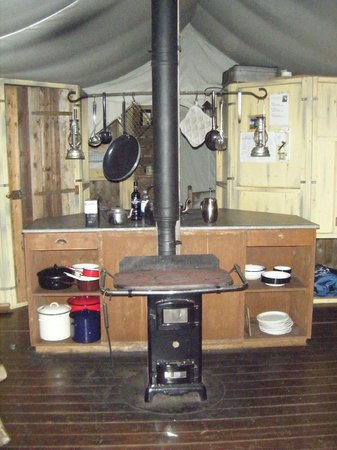 Feather Down Farms at Midgham Farm: Kitchen area with wood burning stove