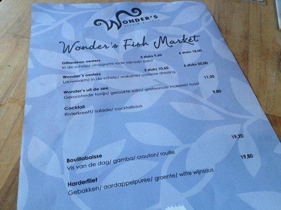 Wonder's eten & drinken: Wonder's viskaart.