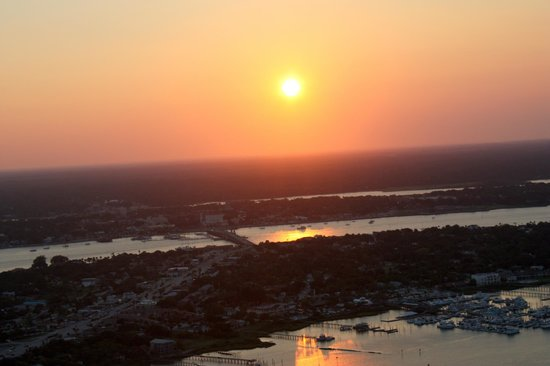 St. Augustine Biplane Rides: Sunset over St Augustine in Biplane ride
